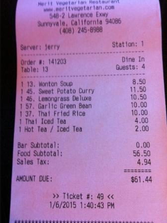 Merit Vegetarian Restaurant: Check-out Tab - what a deal!