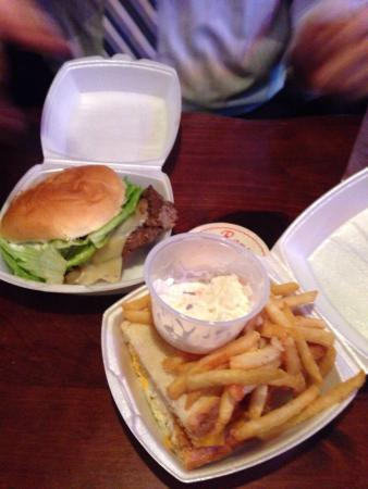 Ron's Place: Half of a steak sandwich on the left and half of a Sea-wich on the right. Both great, but the st