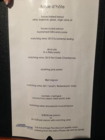 Mercure Resort Hunter Valley Gardens : The 5 Course Banquet - with matched wines -  Very Enjoyable.