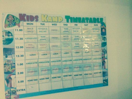 Quality Hotel And Leisure Centre: Kids kamp schedule