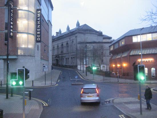 St. Columb's Hall: Heading up from the river