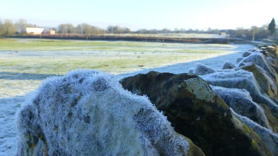 Rutland, UK: The frosty wall opposite the Forge