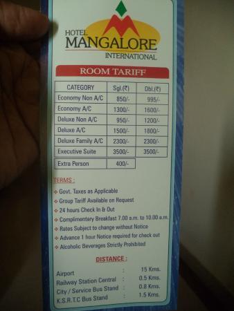 Hotel Mangalore International : Tariff Card