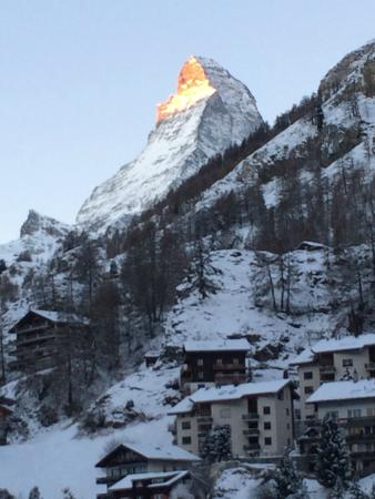 View of Matterhorn from our top floor family suite. Loved Gornergrat Dorf Hotel!
