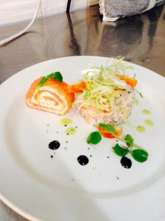 Braemar Lodge: Salmon Roulade with hot smoked salmon Tian