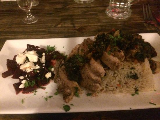 From The Garden: Roasted chicken Florentine with jasmine rice and roasted beets