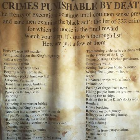 The London Dungeon : Crimes punishable by death!