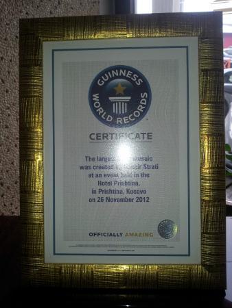 Hotel Prishtina: The World Record certification