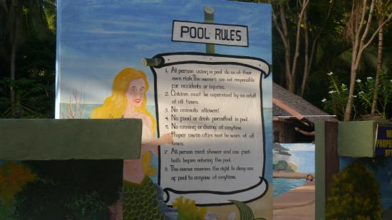 Cove Paradise Beach & Dive Resort: Pool Rules
