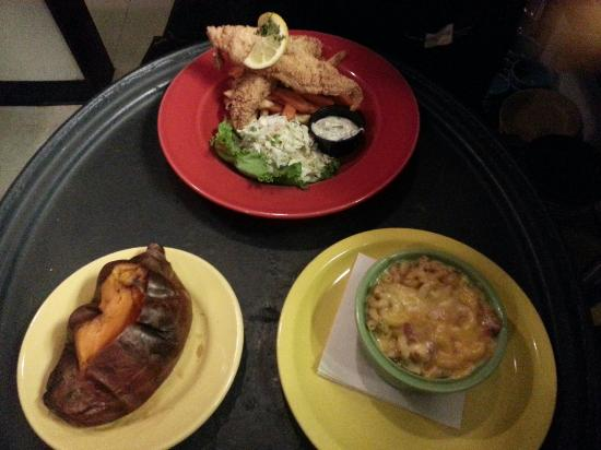Sweet Potatoes: Phil 's favorite, 3 cheese mac & ham souffle, an bake sweetpotatoe