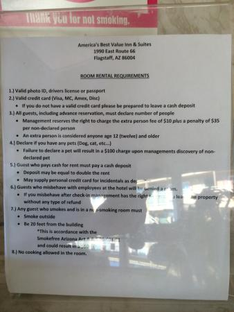 Americas Best Value Inn and Suites - Flagstaff: paper at the front desk