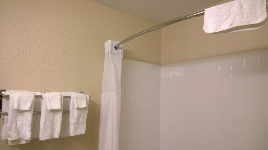 Days Inn & Suites Winnipeg Airport, Manitoba : Dirty towel hanging from shower rod, in plain view