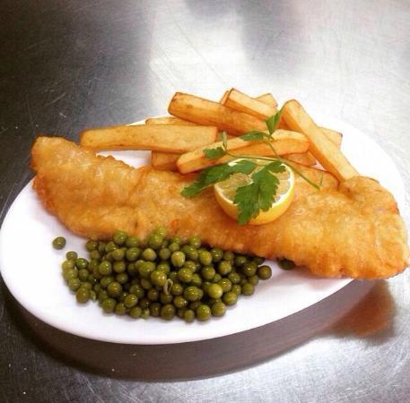 Corky's Penny Farthing Benidorm: Fresh, Fast, Tasty freshly battered cod & chips small 5.00 euro