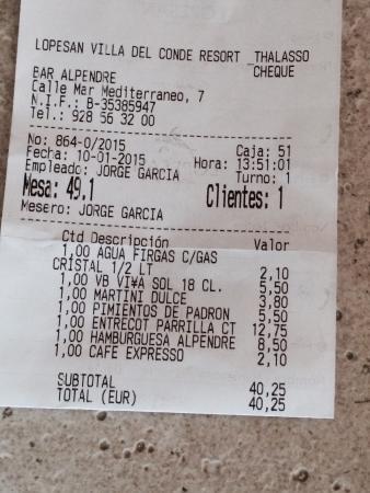 Lopesan Villa del Conde Resort & Corallium Thalasso: Addition pour deux