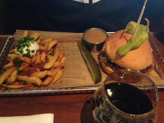 Hops Burger Bar: French Onion Burger with Bacon, Sour Cream & Chives Fries
