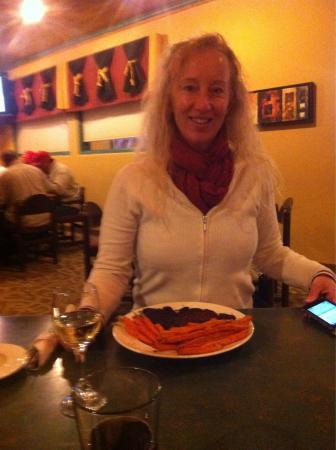 Van Horn Cattle Company: Debbie with sweet potato fries with her steak