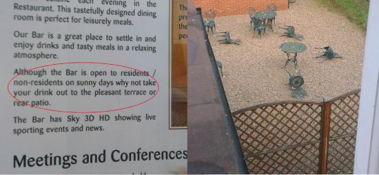 "Quality Hotel Coventry : The ""pleasant rear patio""..."