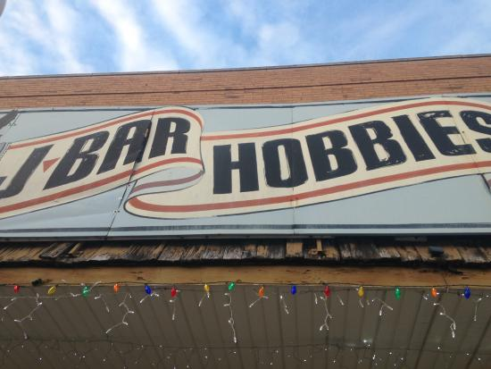 J-Bar Hobbies: Old fashioned sign outside the store