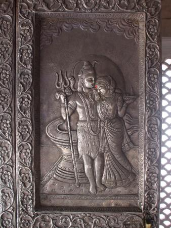 Kangra, India: Romantic Shiva & Parvati in silver door panel