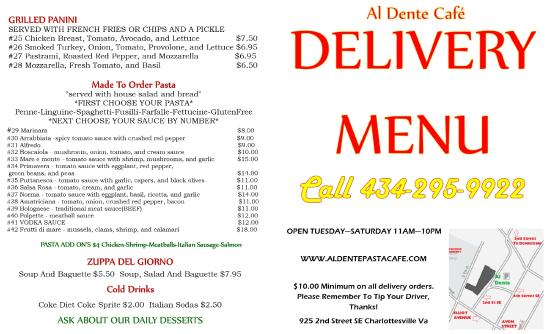 Ristorante Al Dente: Delivery Menu Cover and Back