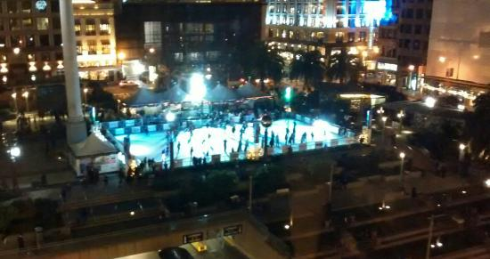 View of Union Square ice skating rink from Burger Bar.