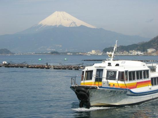 Awashima Marine Park: 富士と船(渡し舟)※渡船料金は入園料に含む