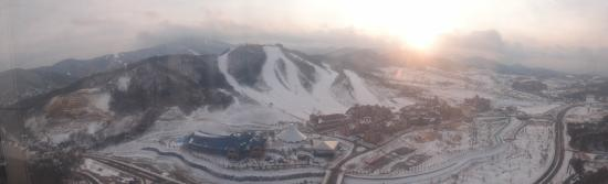 Holiday Inn Resort Alpensia Pyeongchang: A view of the Alpensia resort town as seen from the ski jump tower.