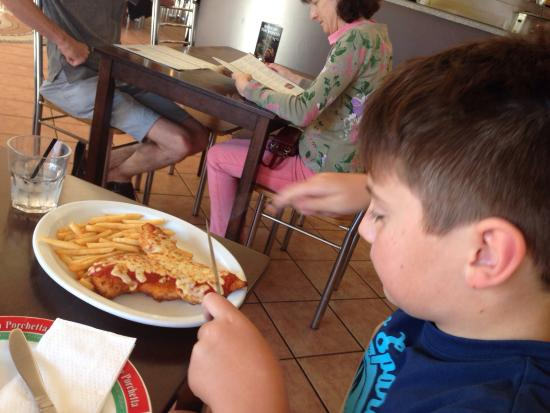 La Porchetta Albury: Loving the parmigiana... This is my son's favourite place to eat and this is his favourite meal!