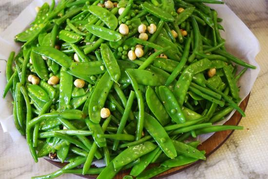 Foodilic: Green Beans, Mange Tout and Peas Salad with Hazelnuts and a Walnut Oil, Olive Oil and Orange Zes