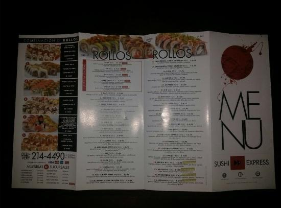 Take out menu back picture of sushi express panama for Take out menu