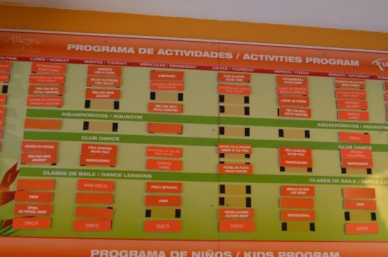 Allegro Papagayo: activities board