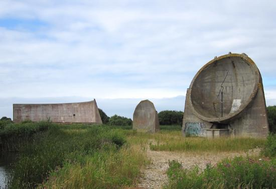 Lydd, UK: Sound Mirrors at Greatstone on Romney Marsh