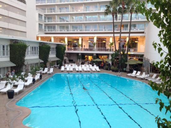 View of beverly hilton main tower from cabana room - Beverly hills public swimming pool ...