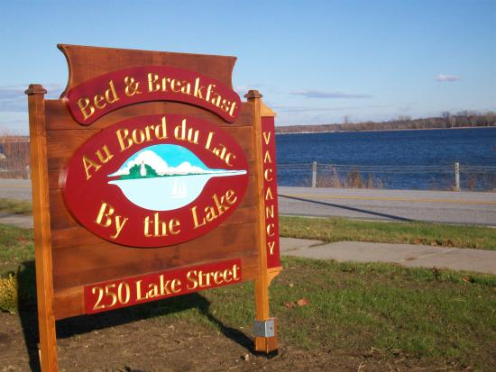 Rouses Point, NY: Our sign with the view of the lake in the background