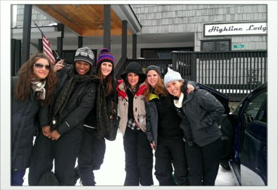 Highline Lodge: My friends and I outside the lodge with Liz!