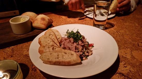 Central: Appetizer, fresh tuna, black eye peas, olive oil herbs...