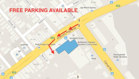 Southern Cross Hotel : Parking Directions