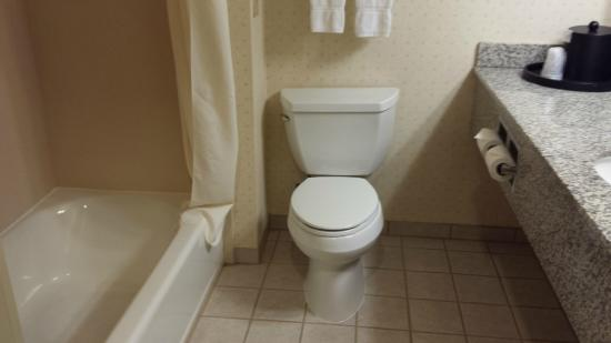 BEST WESTERN Coyote Point Inn: Clean bathroom. Only wish I had taken a picture of the shower head placement high near the ceili