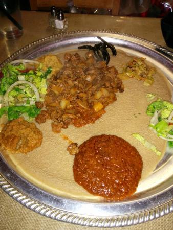 Blue Nile Ethiopian Restaurant: Lamb served on the vegetarian platter