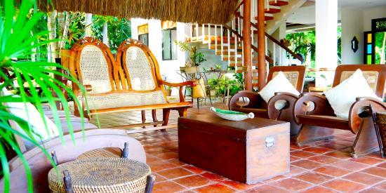 La Casita De Baclayon: Living Area Featuring Antique Filipino Furniture.