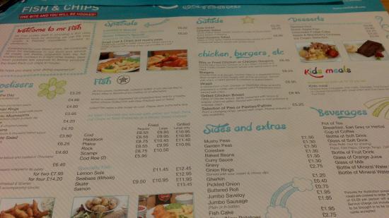 Mr Fish: une partie du menu