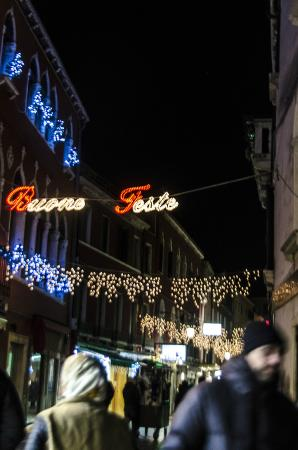 Alberghiera Venezia: Holiday decorations in the main district of the neighborhood- 2 min walk from hotel.