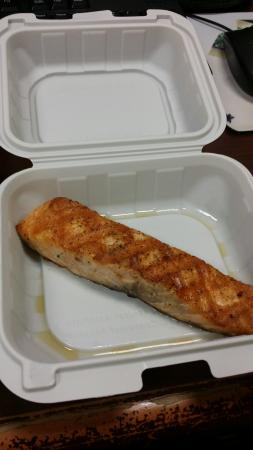 Red Lobster: This is how small the salmon  was. They cut it long so it APPEARS  to be big. Not good coming  f