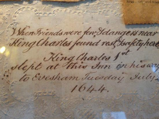 White Hart Royal Hotel: King Charles note