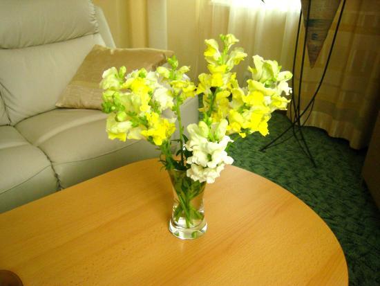 Livonija : fresh flowers in our room