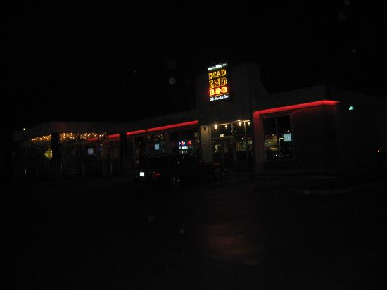 Dead End BBQ: From parking lot at night