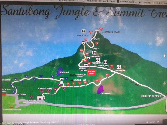 Mount Santubong: Map of Mt Santubong - copy fr internet
