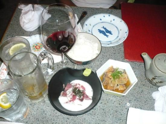 Chiba Ken: Tuna with yam, fried mackerel in wine vinegar