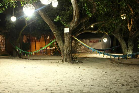 Junto al Rio Beachfront Bungalows and Suites: Night view of our bungalow