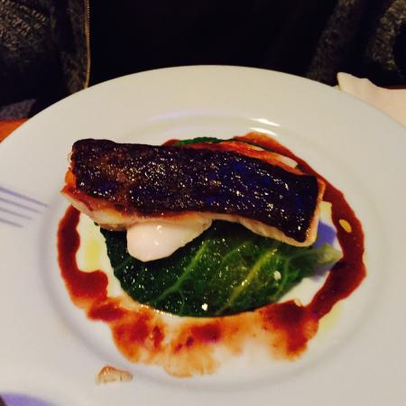 Chez Marie Louise : Grilled Cod on green cabbage